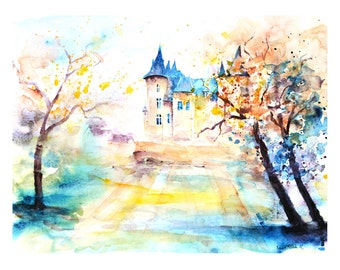 Fine art print of the castle of Saumur in the Loire valley, watercolor print of a castle in the Loire valley in France