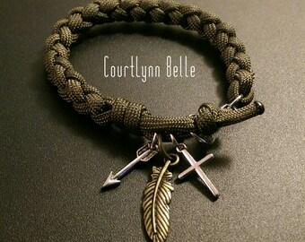 Women's Bracelet, Women's Bangle, Feather Arrow Cross Bracelet, Women's Paracord Bracelet, Cool and Simple Bracelet (Men's Bracelet)