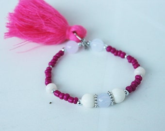 Pink tassel bracelet, Arm candy, Arm party, candy bracelets, handmade bracelet, beaded bracelet, friendship bracelet, gift for her, gift