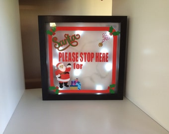 Santa stop here personalised light up frame