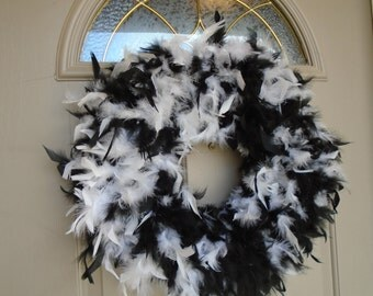 black white wreath