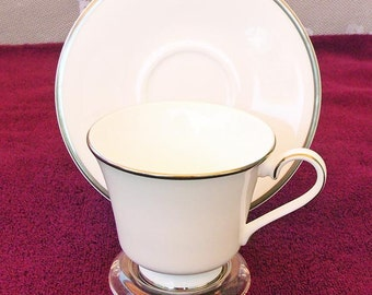 Royal Doulton Catherine Cup & Saucer - White with Platinum Band
