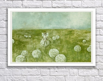 Instant download,kids room decor,printable art,fairy in the meadow, blue, green,digital print,For children's rooms