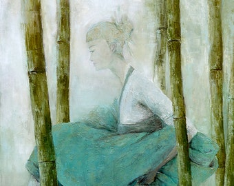 oriental, figure painting, rustic home decor,wall art, female painting, art gifts, bedroom decor,woman, blue and green,bamboo