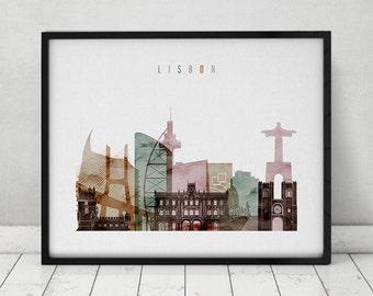 Lisbon watercolor print, poster, Wall art, Lisbon skyline, Portugal, city print, travel poster, Home decor, Gift, Fine art, ArtPrintsVicky