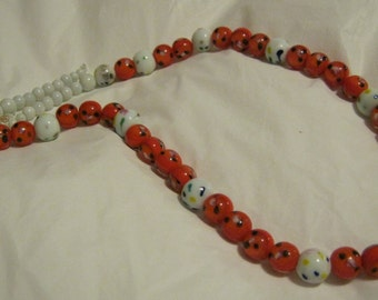 Necklace red and white dotted glass beads