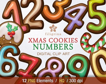 Christmas COOKIES NUMBERS digital clip art. 12 PNG elements. Gingerbread sweets, candy cane, holly,  digits, ornaments. Read about usage