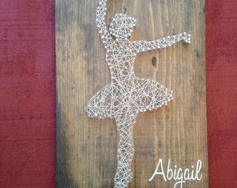 Ballerina with name - Ballet - Dancer - Girls Room - Dance - Dancing - Home Decor - string art - beautiful - gift for girl - tutu
