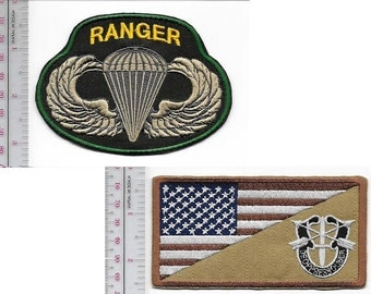 Ranger US Army Green Beret Special Forces Group Crest & Ranger Parachutist Wings