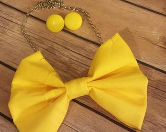 Yellow Bowtie Necklace Bowtie Accessories