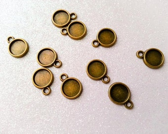 8mm Cabochon Tray Setting - Antique Bronze - 10 Pcs