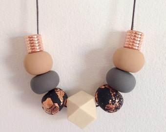 """Polymer Clay Necklace - """"copper & neutral"""""""