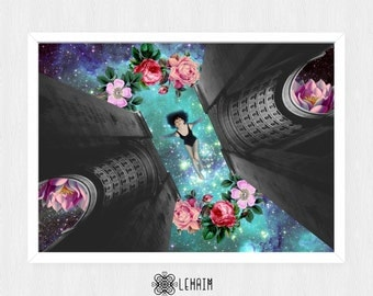 Print Meditation Poster 50x70 cm, Instant download, Blue Universe, Surreal collage, Black and white architecture, Relax mood, Pink flowers