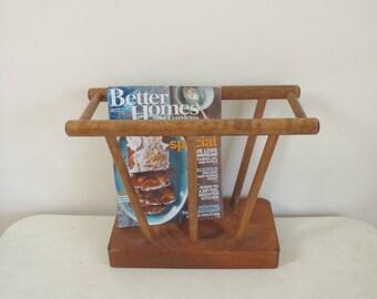 Vintage wooden magazine rack
