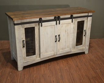 rustic solid reclaimed wood 60 inch tv stand media center sideboard with 4 doors and