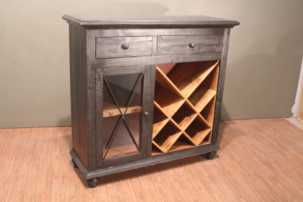 Rustic Solid Antique Black Solid Wood Wine Rack Liqour