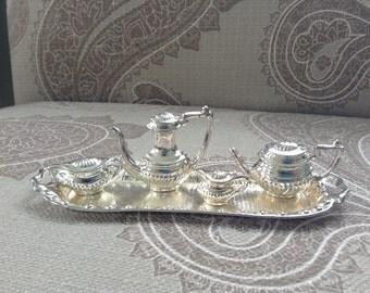 Metal tea or coffee set, miniature tea set, doll tea set.