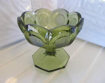 Fostoria Olive Coin Glass Jam/Jelly Dish