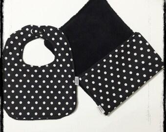 Polka dots black and white bib and burp cloth set