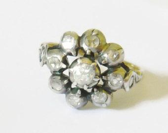 VICTORIAN Rose Diamond Cluster Ring   Antique Diamond Cluster Ring   Antique Diamond Engagement Ring   Cluster Engagement Ring