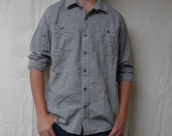 Grey Striped Button Up