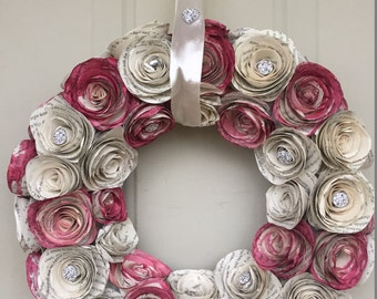 Elegant Handmade Wreath -  Natural Book Page Roses - Painted Book Page - Rhinestones - Satin Ribbon - Customizable - Multiple Sizes