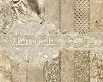 White Gold Steamless Pattern Digital Paper Background Set Party Glossy Glitter Metallic Foil Leather Marble Linen Tile Sparkling Textures