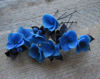 Dark flower hair clip Wedding hair pins Wedding hair clip Wedding hair jewelry Dark blue accessory Floral hair clip Bridesmaid hair piece