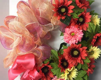 Gerber Daisy Front Door Wreath