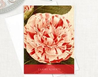personalized stationery set - ANTIQUE CAMELLIA BLOSSOM - set of 8 folded note cards - stationary - floral - botanical - flower