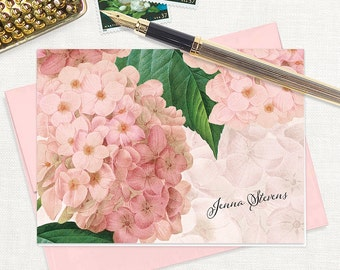 personalized stationery set - PINK HYDRANGEA - set of 8 folded note cards - floral stationary - botanical flowers - pink envelopes