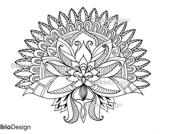 Persian Flower coloring pages for adults. Hand Drawn Adult Coloring Page Print. Download