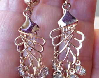 Vintage Gold Tone and Rhinestones Modernist Dangle Earrings.
