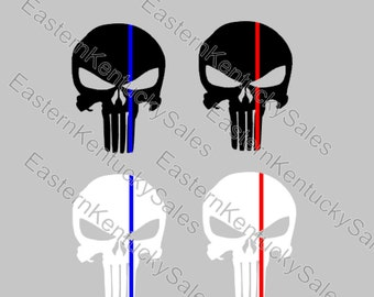 """Punisher Decal - Back The Blue - Back The Red 3.5"""" Tall x 2.5"""" Wide"""