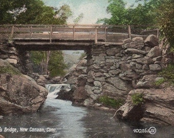 New Canaan,  Connecticut - A view of Cook's Bridge on the Rippowam River- Vintage Postcard