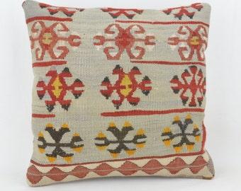 Only wool kilim cushion 40 x 40 cm, 16x16inc, home decor, decorative pillow, Turkish pillow case cushion cover .kilim, 15 K