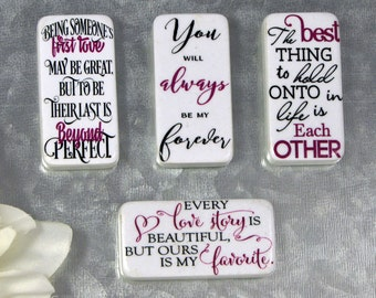 Love Theme Magnets - Wedding Gift - Bridal Shower Prize - Bridal Shower Gift - Love Story -Domino Magnets -Engagement Gift -Set of 4 Magnets