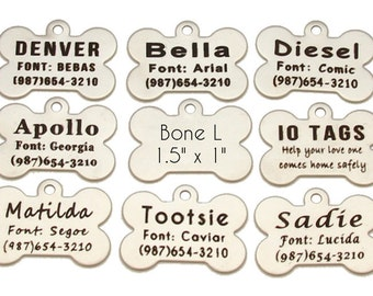 Personalized Etched Stainless Steel Dog Bone ID Tag // Dog Name Tag