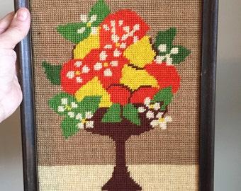 Vintage Cross Stitch Fruit Basket, Orange, Blossom, and Lemon, Citrus, Needle Point
