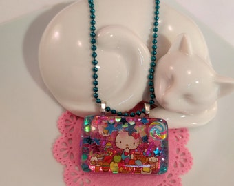 Kitty in the Candy Shop Resin Pendant