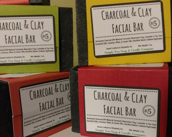Charcoal and Clay Facial Bar Handcrafted Artisian Cold Process Soap