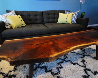Live edge walnut coffee table. Walnut Slab - Mid Century Modern