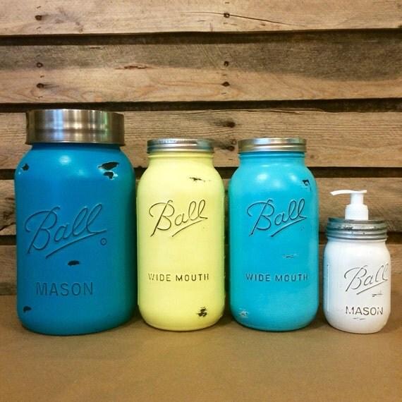 Mason Jar Kitchen Decor Set: Mason Jar Canister Set Rustic Turquoise Mason Jars Turquoise