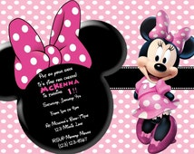 Minnie Mouse invitation, Matching thank you card, Minnie Mouse Birthday, Minnie invitation, Glitter invitation,Minnie Mouse Party invitation