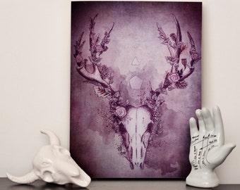 "Woodland Stag in Ebony - Canvas 12x16"" (A3)"