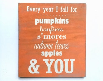 fall decor, wooden sign, wedding, rustic decor, house warming, newlywed, gift, wood sign, pumpkin decor, autumn decor, October decor