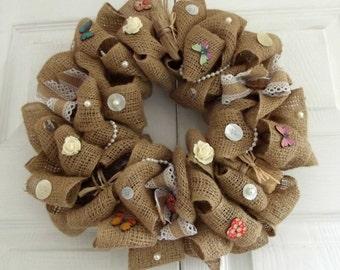 Hessian,burlap wreath, driftwood, buttons