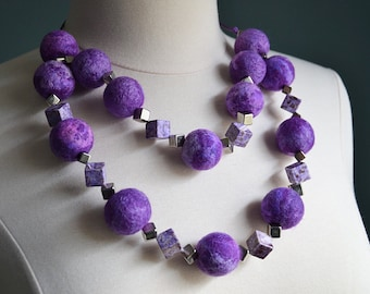 Felted wool necklace, purple necklace, violet necklace, bead necklace, wool beads, fiber necklace, wearable fiber art, fiber jewelry