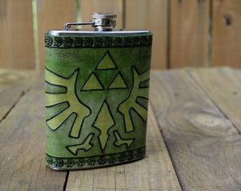 Leather Wrapped Flask - Zelda Triforce