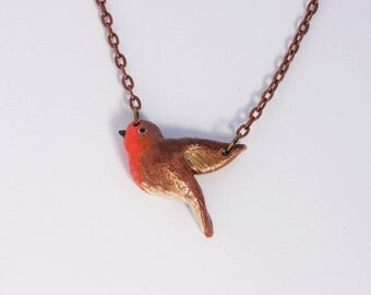 Necklace Bird Robin (Polymer Clay) Handmade Animal Jewelry